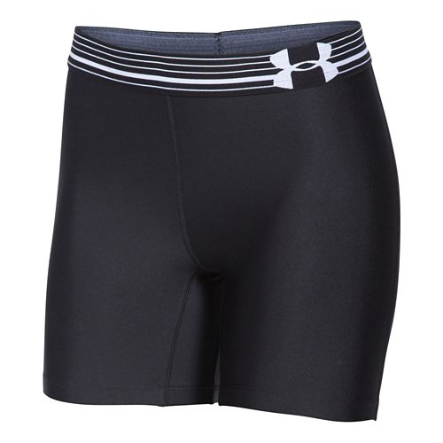 Womens Under Armour HeatGear Compression Mid Unlined Shorts - Black/Black XS