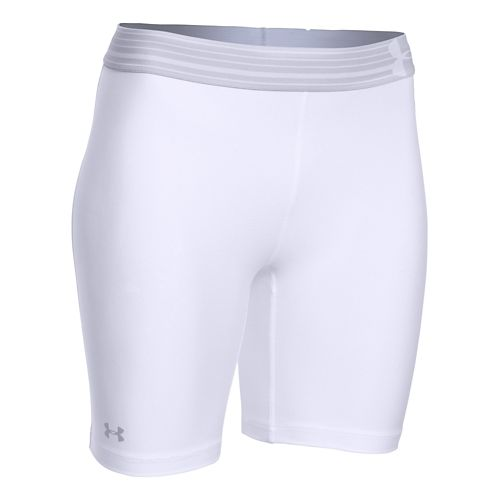 Womens Under Armour HeatGear Compression Long Unlined Shorts - White/Silver M