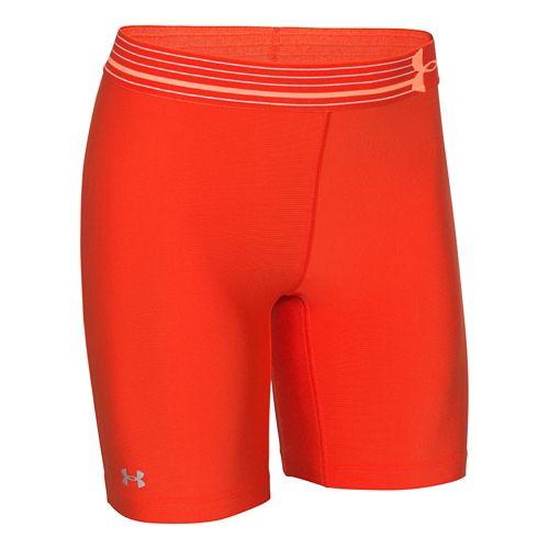 Womens Under Armour HeatGear Compression Long Unlined Shorts - Dark Orange/Silver XL