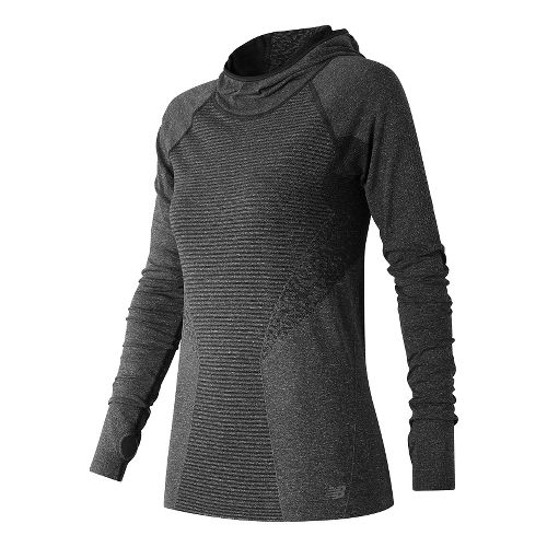 Womens New Balance M4M Seamless Hoodie & Sweatshirts Technical Tops - Black Heather L