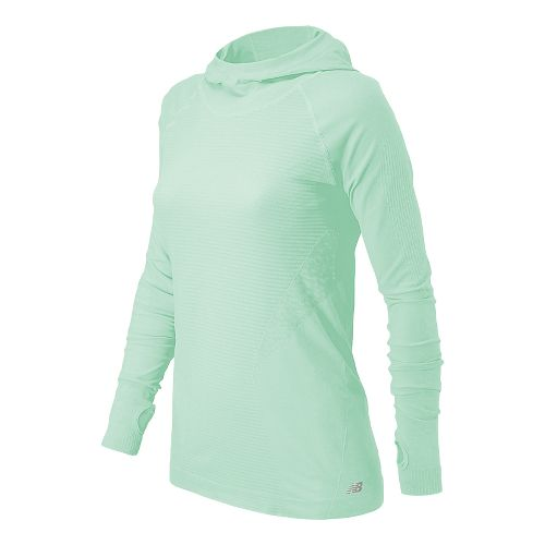 Womens New Balance M4M Seamless Warm Up Hooded Jackets - Water Vapor XS