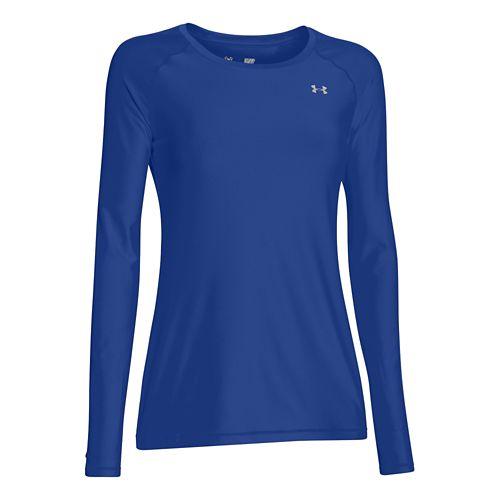 Womens Under Armour HeatGear Long Sleeve No Zip Technical Tops - Royal/Silver L