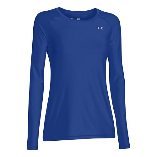 Womens Under Armour HeatGear Long Sleeve No Zip Technical Tops - Royal/Silver S