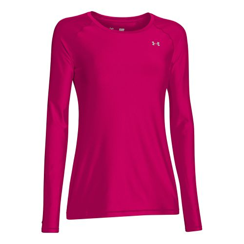 Womens Under Armour HeatGear Long Sleeve No Zip Technical Tops - Tropic Pink/Silver L