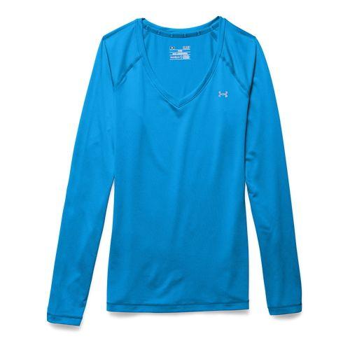 Womens Under Armour HeatGear Mesh Solid Long Sleeve No Zip Technical Tops - Jazz Blue/Purple ...