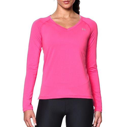 Womens Under Armour HeatGear Armour Mesh Solid Long Sleeve Technical Tops - Rebel Pink/Graphite ...