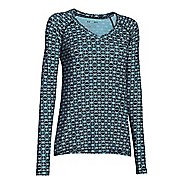 Womens Under Armour HeatGear Mesh Printed Long Sleeve No Zip Technical Tops
