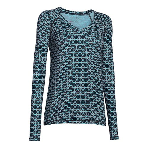 Womens Under Armour HeatGear Mesh Printed Long Sleeve No Zip Technical Tops - Black/Veneer S ...