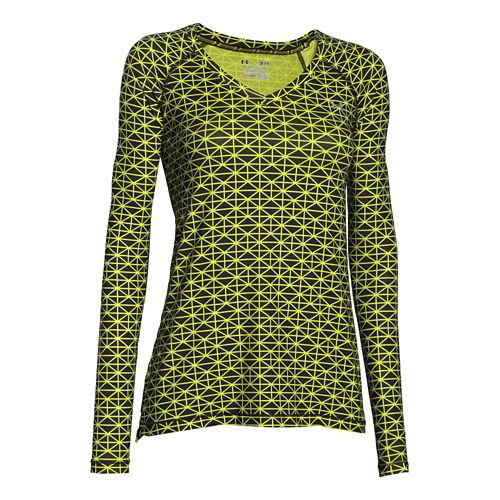 Womens Under Armour HeatGear Mesh Printed Long Sleeve No Zip Technical Tops - Black/Flash Light ...