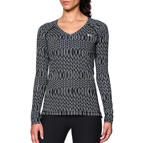 Womens Under Armour HeatGear Mesh Printed Long Sleeve No Zip Technical Tops - Black/White M ...