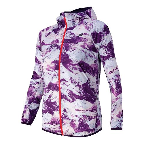 Womens New Balance Windcheater Warm Up Hooded Jackets - Imperial/Black M