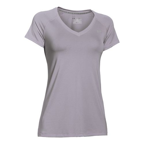 Womens Under Armour HeatGear Mesh V-Neck Short Sleeve Technical Tops - Cloud Grey/Silver XS