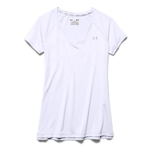 Womens Under Armour HeatGear Armour Mesh V-Neck Short Sleeve Technical Tops - White/Silver XS
