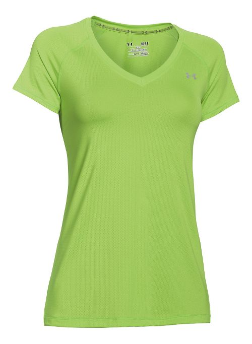 Womens Under Armour HeatGear Armour Mesh V-Neck Short Sleeve Technical Tops - Hyper Green/Silver S