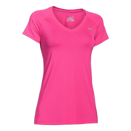 Womens Under Armour HeatGear Armour Mesh V-Neck Short Sleeve Technical Tops - Rebel Pink/Silver ...