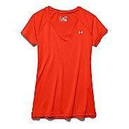 Womens Under Armour HeatGear Armour Mesh V-Neck Short Sleeve Technical Tops