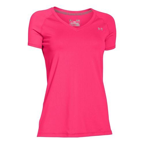 Womens Under Armour HeatGear Armour Mesh V-Neck Short Sleeve Technical Tops - Harmony Red M ...