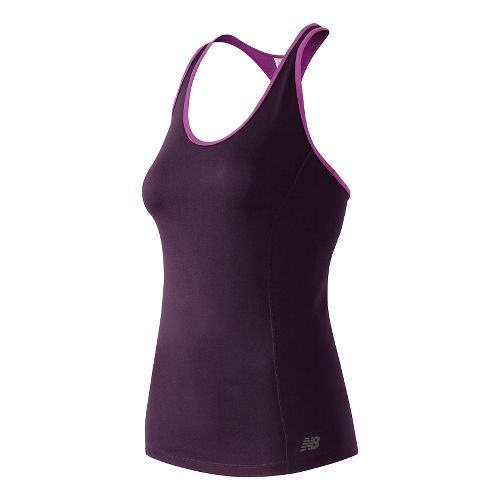 Womens New Balance Get Back Raceback Tank Technical Tops - Asteroid XL