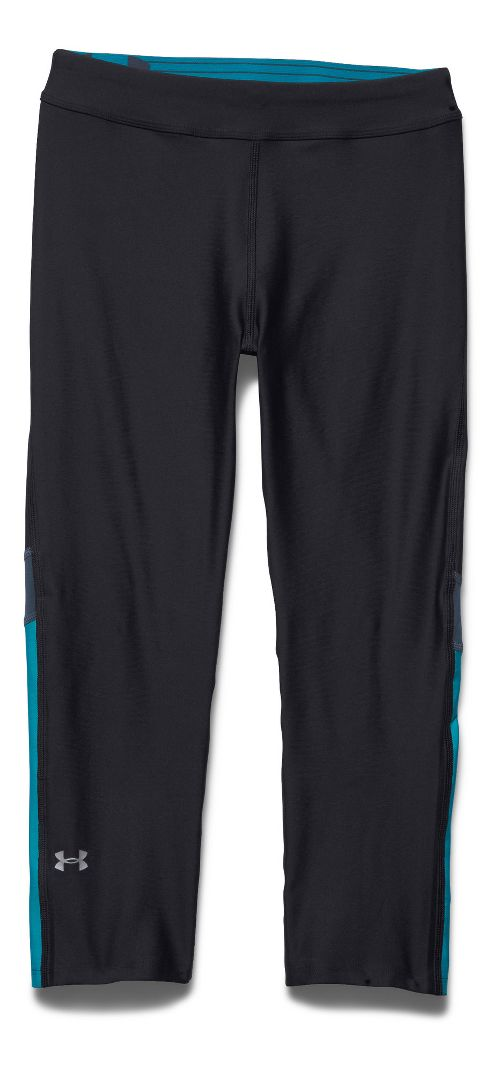 Womens Under Armour HeatGear Capri Tights - Black/Mechanic Blue XS