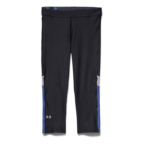 Womens Under Armour HeatGear Capri Tights - Black/Cloud Grey S
