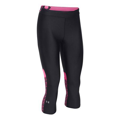 Womens Under Armour HeatGear Capri Tights - Black/Pink Punk XS