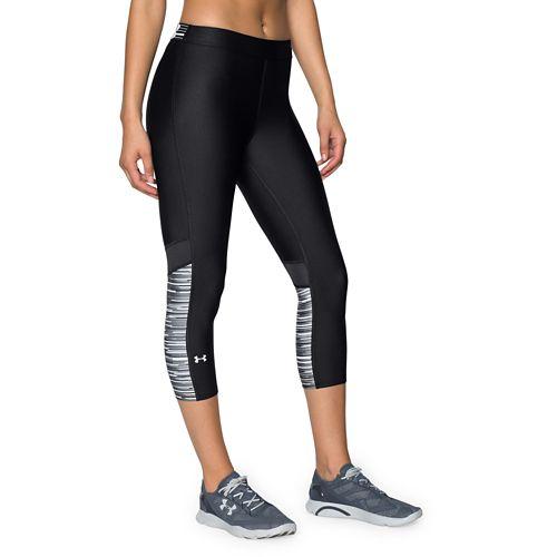 Womens Under Armour HeatGear Capri Tights - Black/White S