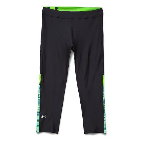 Womens Under Armour HeatGear Capri Tights - Black/Hyper Green L