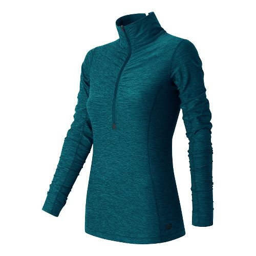 Womens New Balance Impact Half Zip Long Sleeve Technical Tops - Castaway Heather L