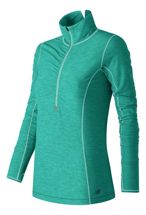 Womens New Balance Impact Half Zip Long Sleeve Technical Tops - Aquarius Heather XL