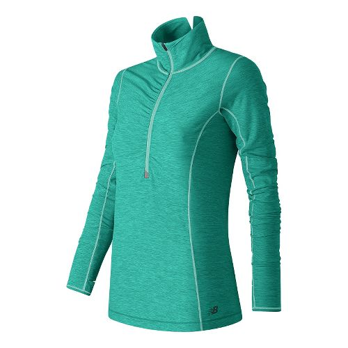 Womens New Balance Impact Half Zip Long Sleeve Technical Tops - Aquarius Heather XL