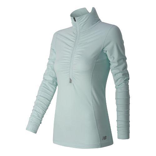 Womens New Balance Impact Half Zip Long Sleeve Technical Tops - Droplet XL