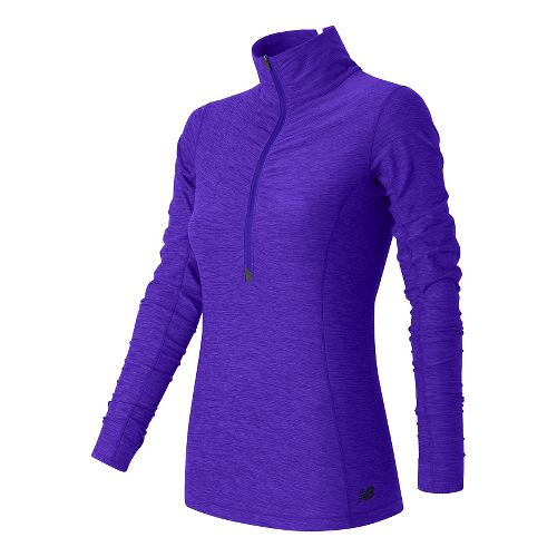 Womens New Balance Impact Half Zip Long Sleeve Technical Tops - Spectral Heather L