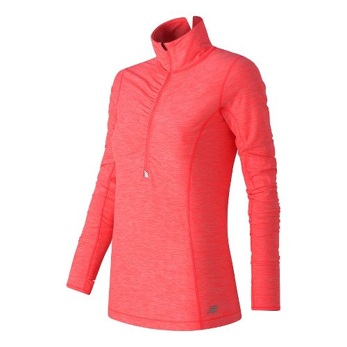 Womens New Balance Impact Half Zip Long Sleeve Technical Tops - Guava Heather S