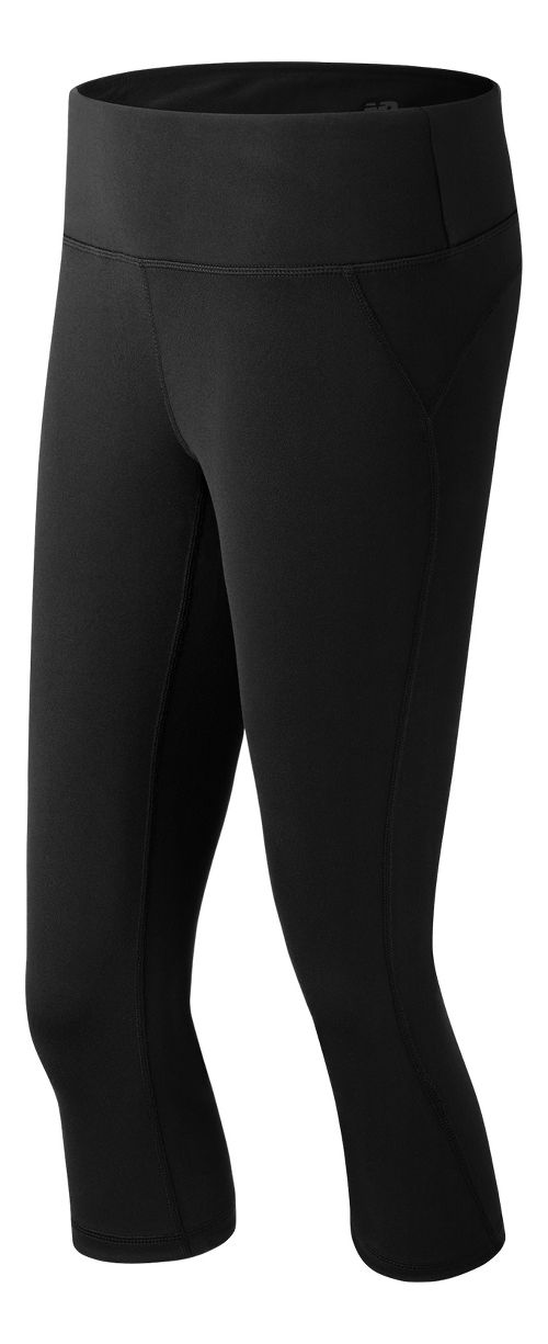 Womens New Balance Premium Performance Fitted Capris Tights - Black XS