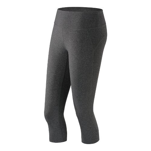 Womens New Balance Premium Performance Fitted Capris Tights - Heather Charcoal XS