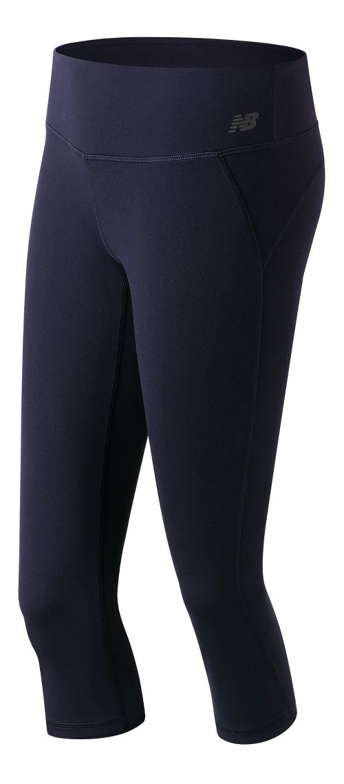 Womens New Balance Premium Performance Fitted Capris Tights - Pigment M