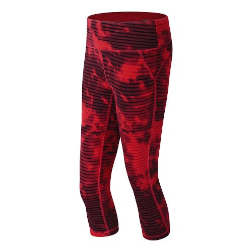 Womens New Balance Premium Performance Printed Fitted Capri Tights - Cerise/Cerise Print XS