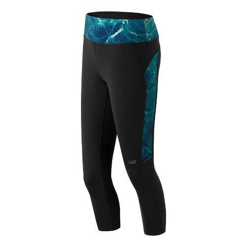 Womens New Balance Premium Performance Fashion Crop Capri Tights - Black/Seaglass Print L