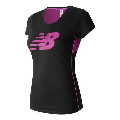 Womens New Balance Accelerate Graphic Short Sleeve Technical Tops - Black/Jewel M