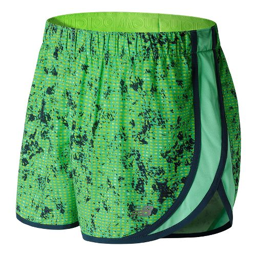 Womens New Balance Accelerate 2.5'' Printed Lined Shorts - Lime Glow Print S