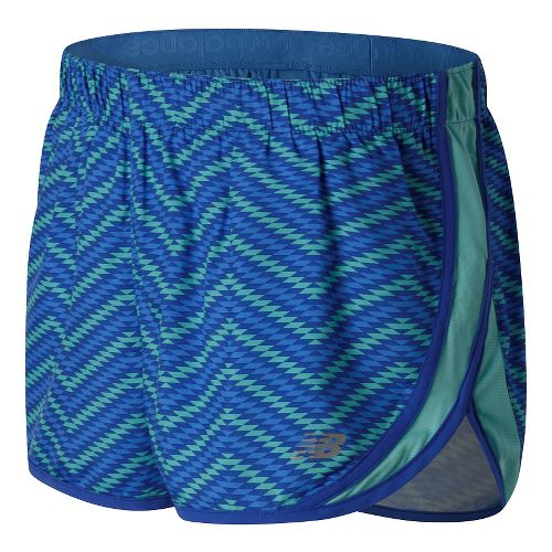 Womens New Balance Accelerate 2.5'' Printed Lined Shorts - Majestic Blue Multi L