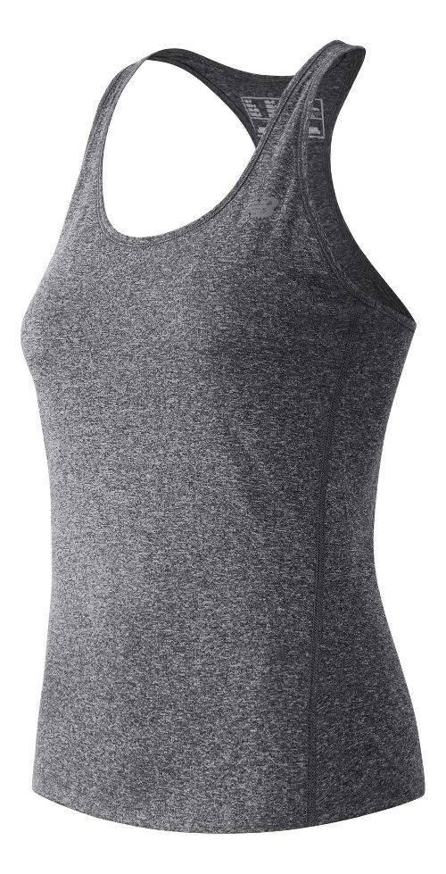Womens New Balance Heathered Sleeveless & Tank Technical Tops - Black Heather L