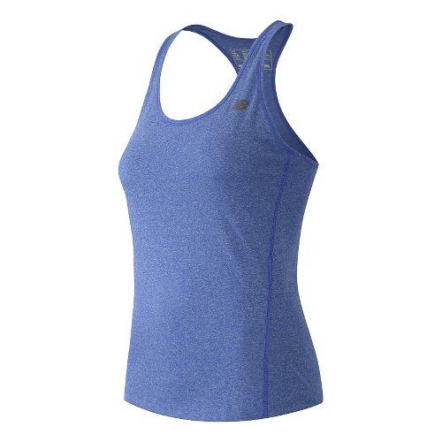 Womens New Balance Heathered Sleeveless & Tank Technical Tops - Majestic Blue Heather XL