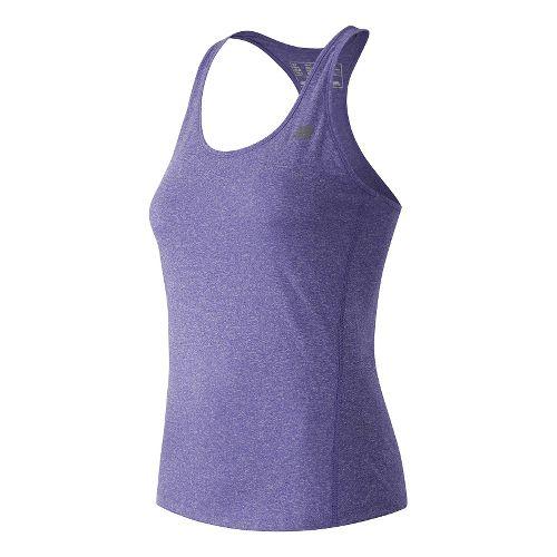Womens New Balance Heathered Sleeveless & Tank Technical Tops - Spectral Heather L