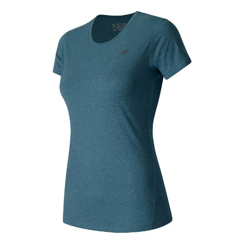 Womens New Balance Heathered Tee Short Sleeve Technical Tops - Castaway Heather XS
