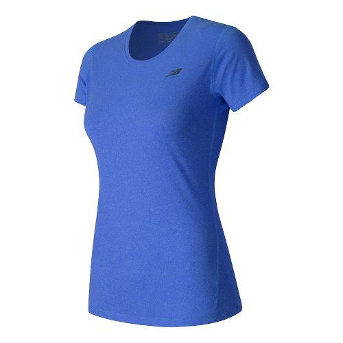 Womens New Balance Heathered Tee Short Sleeve Technical Tops - Majestic Blue Heather L