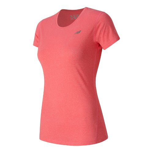 Womens New Balance Heathered Tee Short Sleeve Technical Tops - Guava Heather L