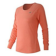 Womens New Balance Heathered Tee Long Sleeve Technical Tops