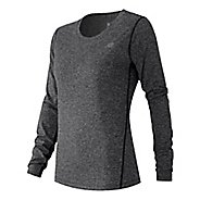 Womens New Balance Heathered Tee Long Sleeve No Zip Technical Tops