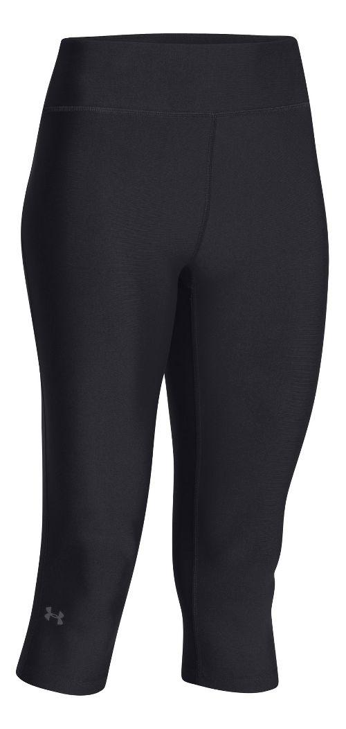 Womens Under Armour HeatGear Compression 17 Capri Tights - Black/Silver XS